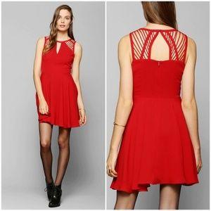 Sparkle & Fade Red Skater Lattice Dress